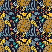 Vector handdrawn sea pattern with various marine animals
