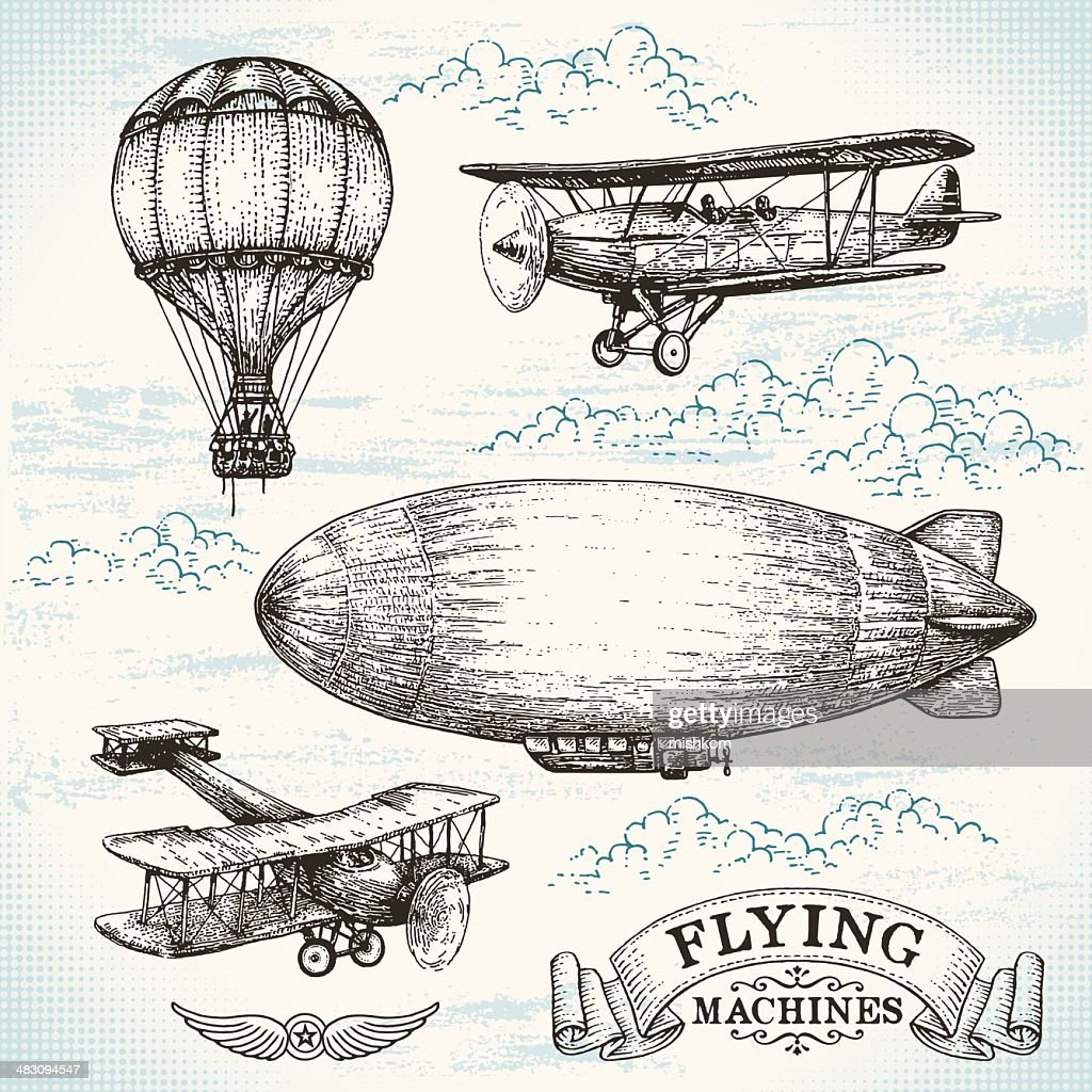 Vector hand-drawn vintage flying machines : stock illustration