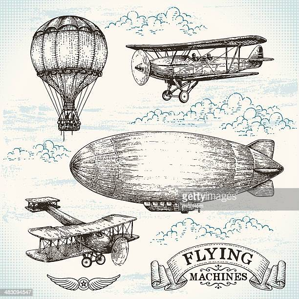 vector hand-drawn vintage flying machines - cloudscape stock illustrations, clip art, cartoons, & icons