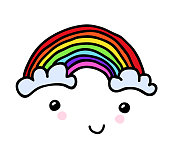 Vector Hand-painted smiling rainbow with clouds