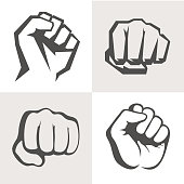 Vector hands icon set. Different fist signs.