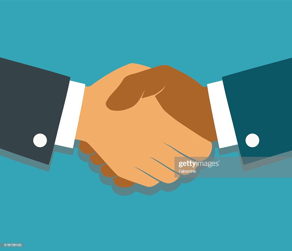 Vector handshake illustration. Background for business and finance. Flat style