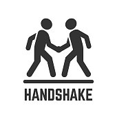 Vector handshake or agreement silhouette flat isolated icon of two person for business deal, partnership and friendship illustration.