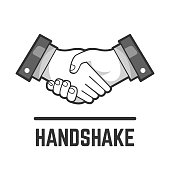 Vector handshake or partnership and business agreement flat grey isolated drawing icon of two shake hand for people friendship and relationship illustration.