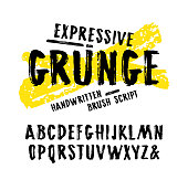 Vector handwritten brush font in grunge style