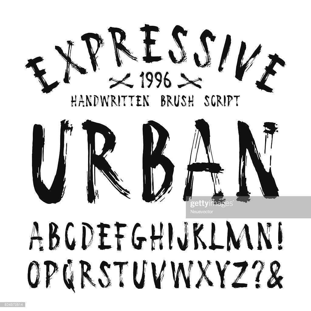 Vector handwritten brush font