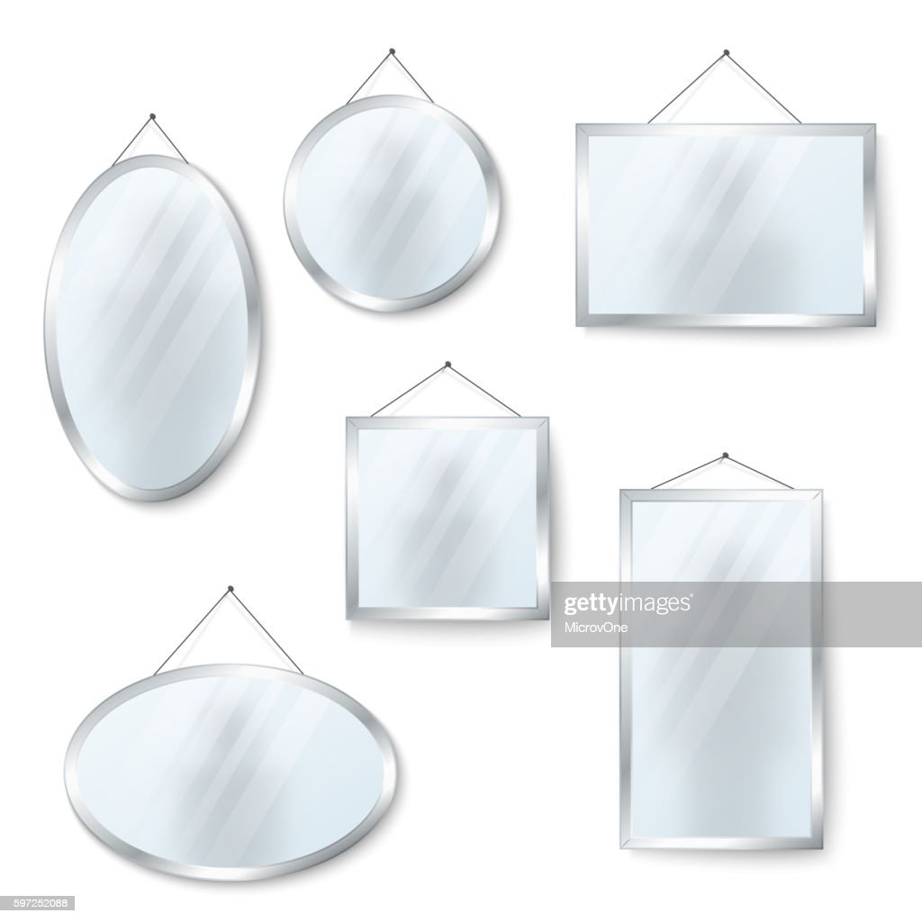 Vector hanging mirrors isolated on white