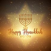 Vector Hanukkah background with menorah and david star. Shining stars and sun on the back. Happy Hanukkah background. Elegant greeting card.