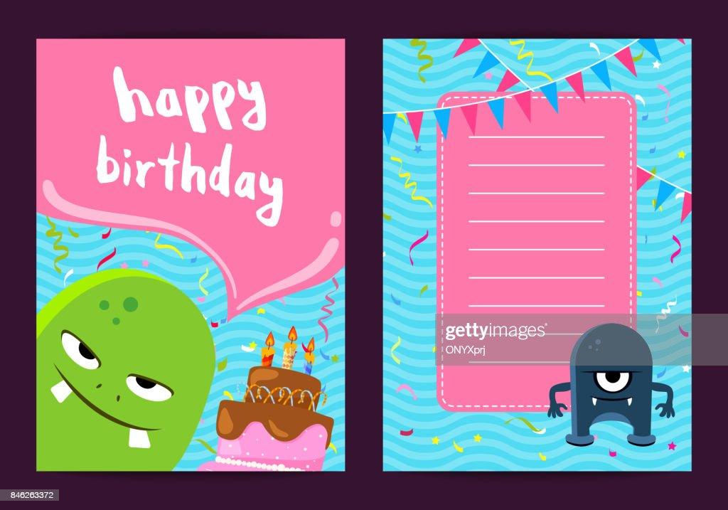 Vektoralles Gute Zum Geburtstag Kartenvorlage Mit Niedlichen Cartoon ...