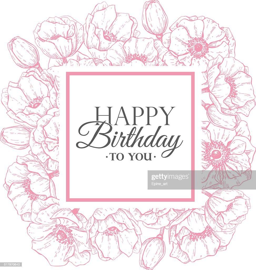 Vector Happy Birthday flower illustration. Hand drawn vintage an