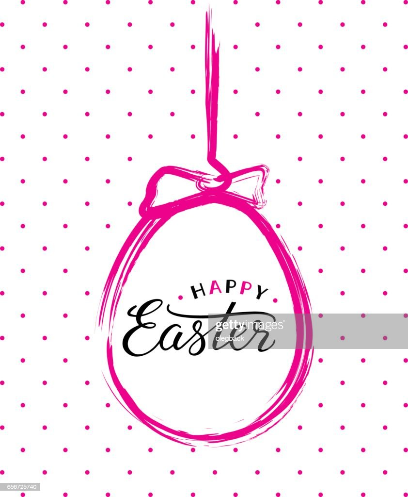 Vector Happy Easter text in pink brush painted easter egg.