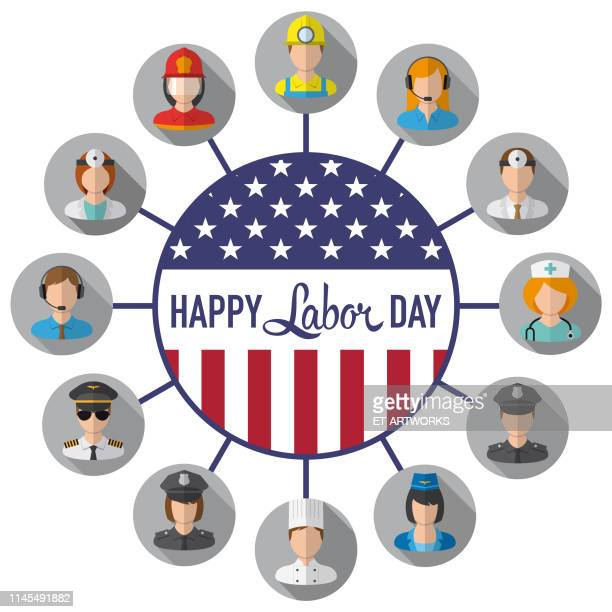 vector happy labor day - labour day stock illustrations