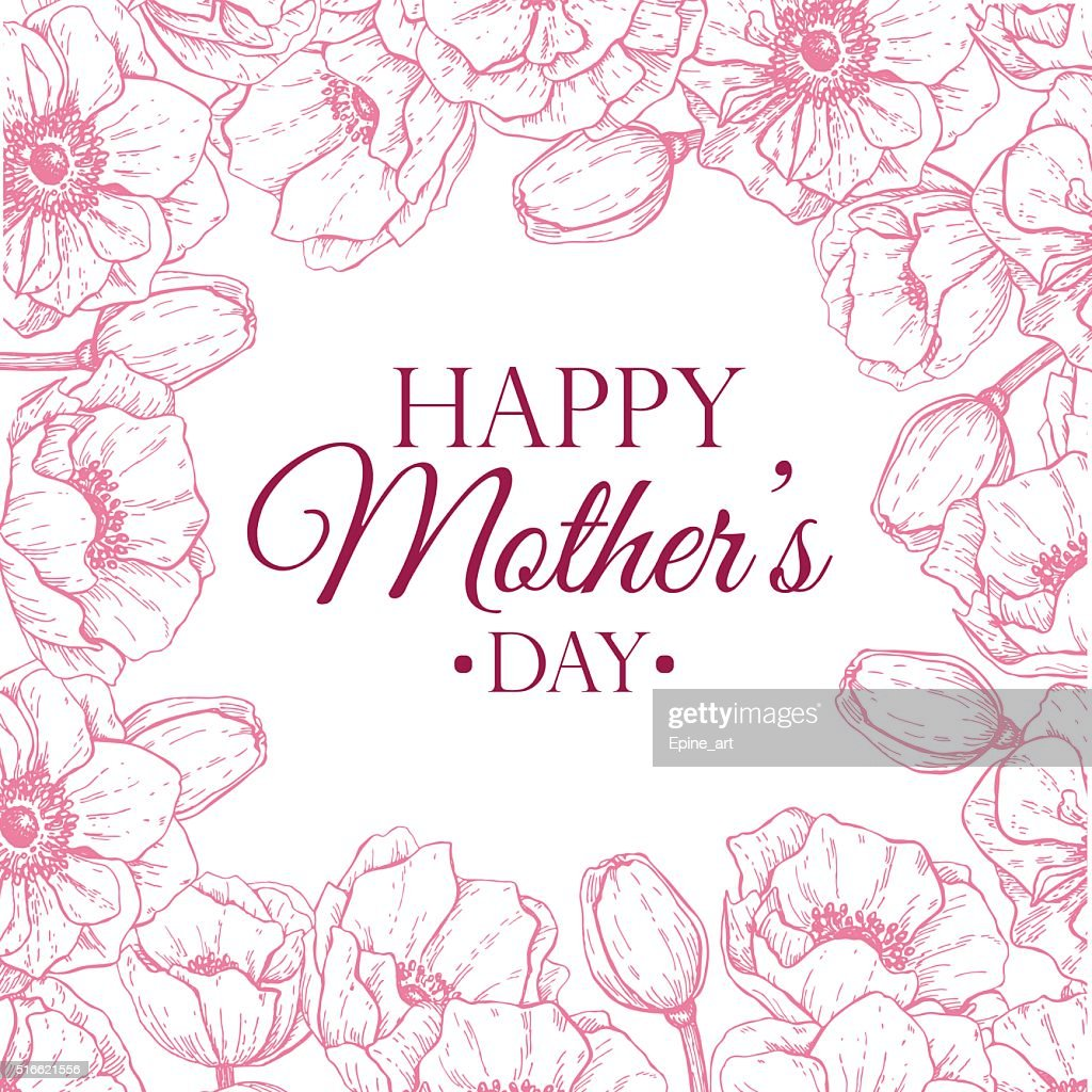 Vector Happy Mother's Day flower illustration. Hand drawn vintag