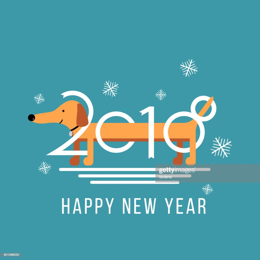 Vector Happy New Year 2018 Design Element With Cute Dachshund Dog