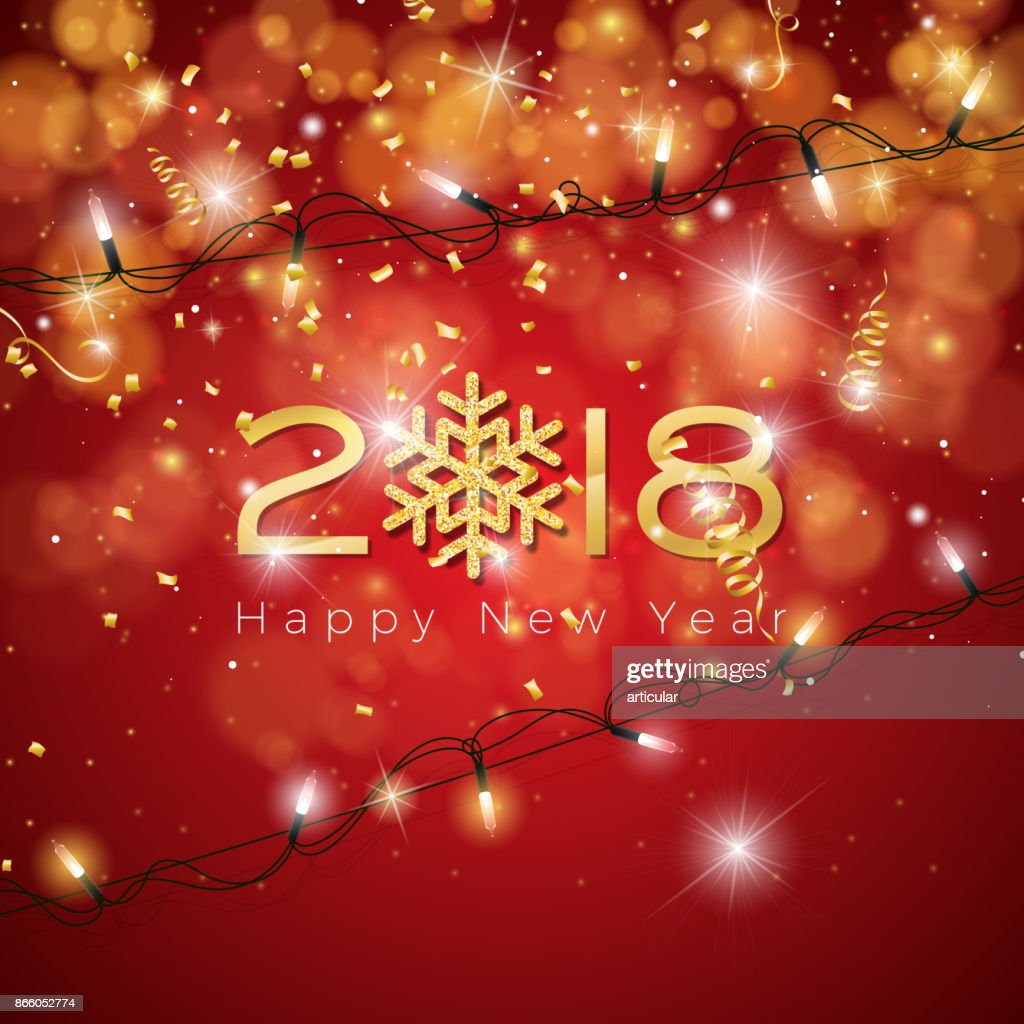 vector happy new year 2018 illustration on shiny lighting blue background with typography vector