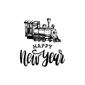 Vector Happy New Year hand lettering with toy train illustration on white background.Festive typography for poster,card.