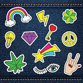 Vector happy patches, retro badges with lucky clever, heart, sta