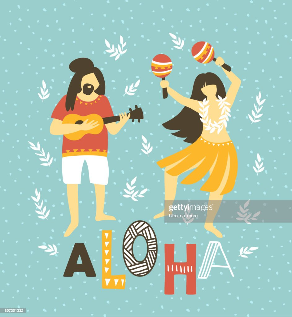 Vector hawaii illustration. Summer background with dancing girls and men playing ukulele . Bright ethnic design.