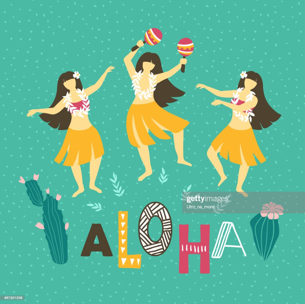 Vector hawaii illustration. Summer background with dancing girls and lettering - ALOHA . Bright ethnic design.
