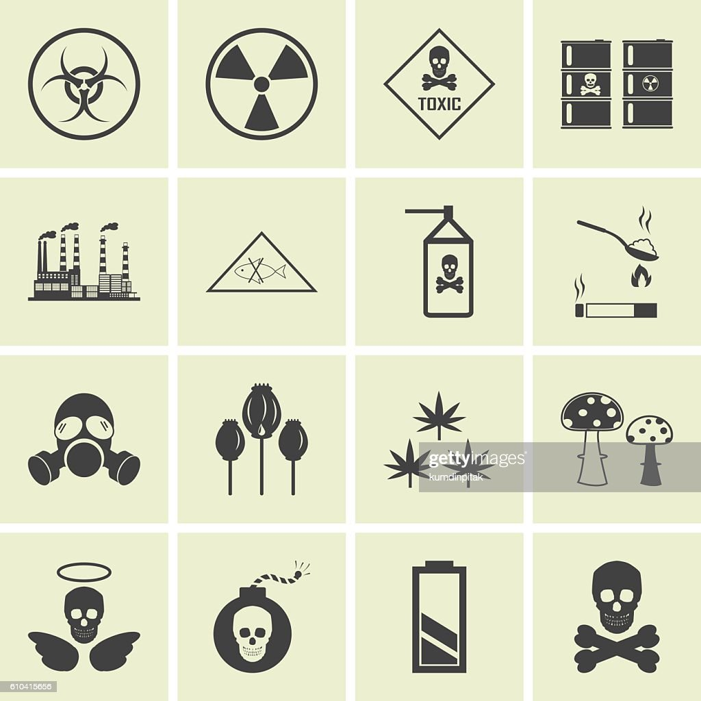 Vector hazard and danger icons set
