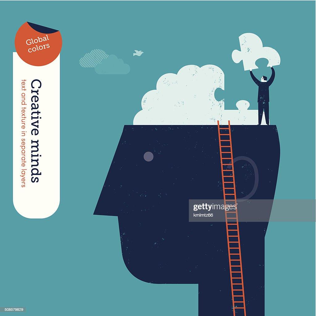 Vector head with brain puzzle : Vector Art