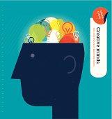 Vector head with bulbs brain.
