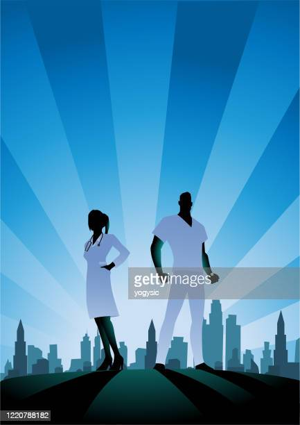 vector healthcare workers couple silhouette stock illustration - heroes stock illustrations