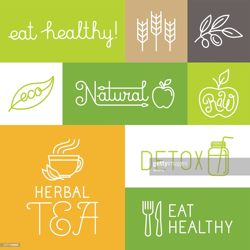 Vector healthy and fresh farm products labels