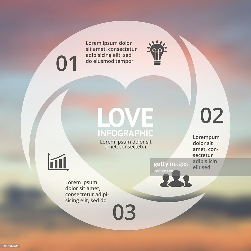 Vector heart circle infographic. Template for love cycle diagram, graph
