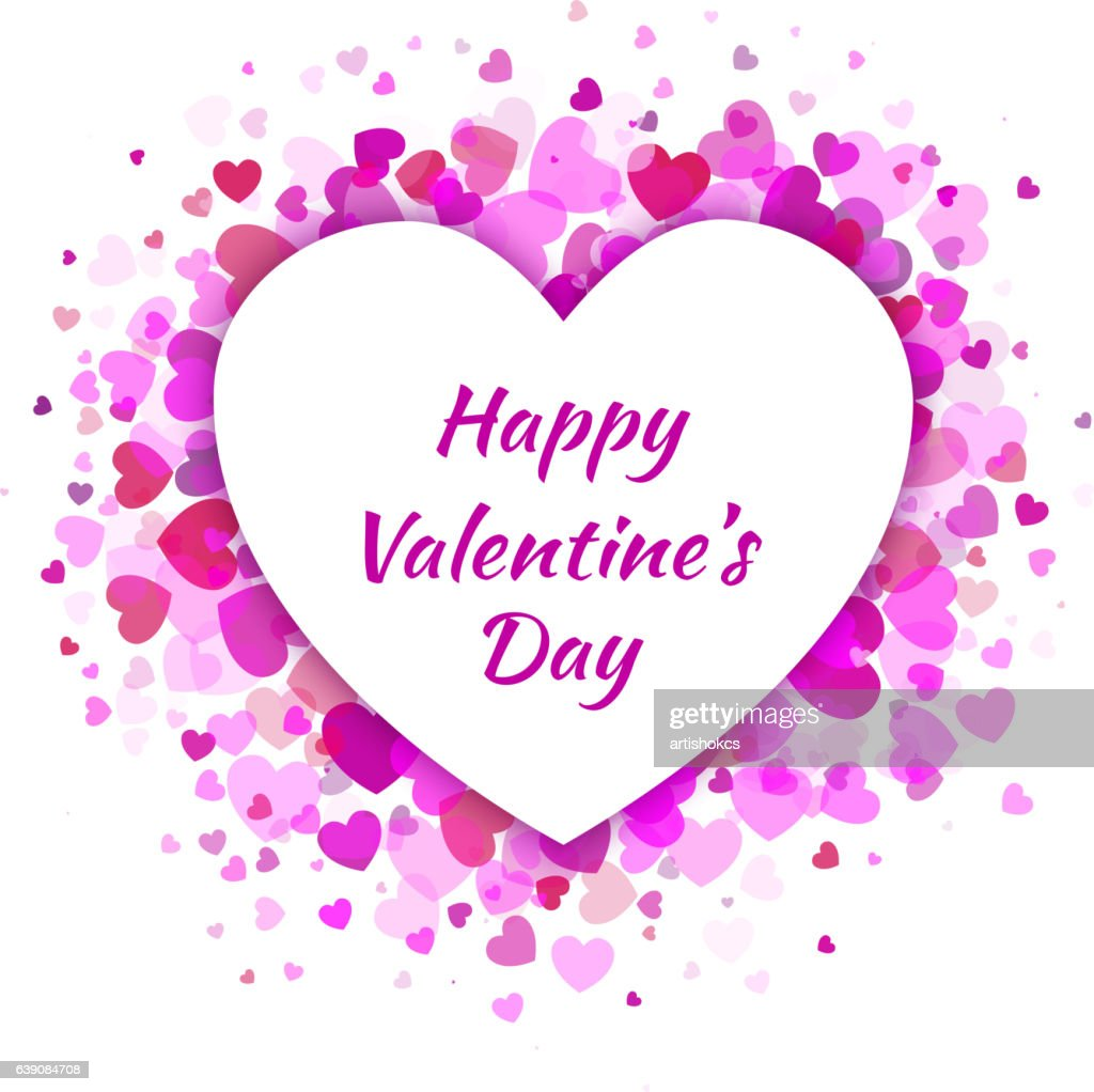 Vector Heart with light pink Hearts Valentines Day Card Background.