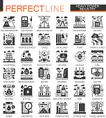Vector Heavy and power industry black mini concept icons and infographic symbols set
