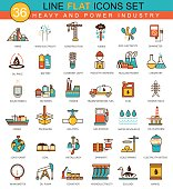 Vector heavy and power industry flat line icon set. Modern