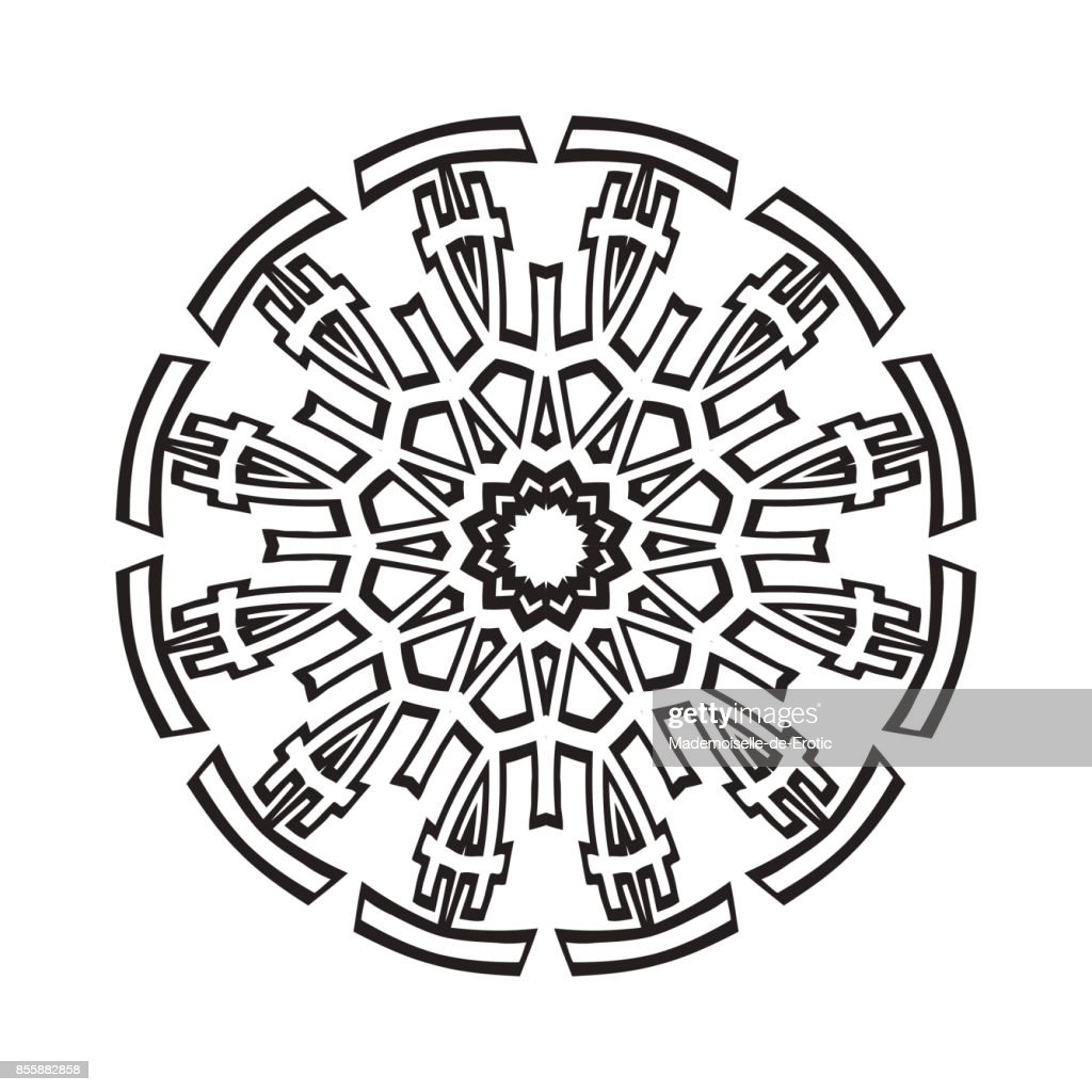 Mandala Tattoo Kleurplaten.Vector Henna Tattoo Mandala Geometrische Stijl Voor De Wenskaart
