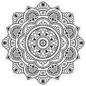 Vector henna tatoo mandala. Mehndi style. Coloring page.