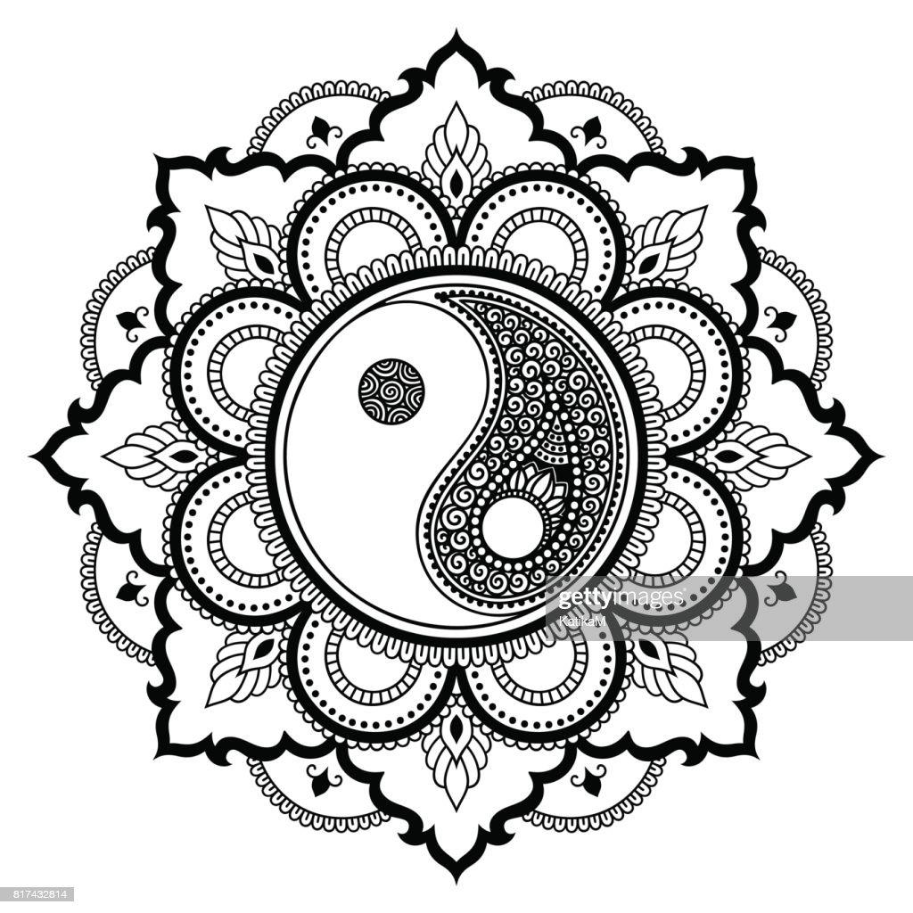 Mandala Tattoo Kleurplaten.Vector Henna Tattoo Mandala Yinyang Decoratieve Symbool Mehndi Stijl