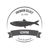 Vector herring emblem, label. Template for stores, markets, food