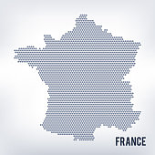 Vector hexagon map of France isolated on a gray background