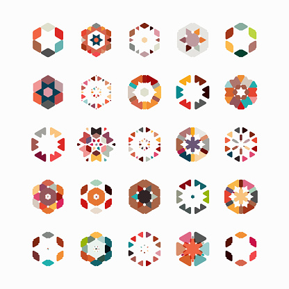 Vector hexagon pattern symbol collection - gettyimageskorea