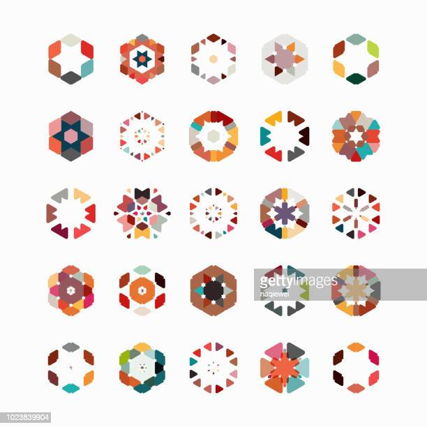 vector hexagon pattern symbol collection - mosaic stock illustrations