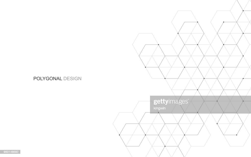Vector hexagonal background. Digital geometric abstraction with lines and dots. Geometric abstract design.