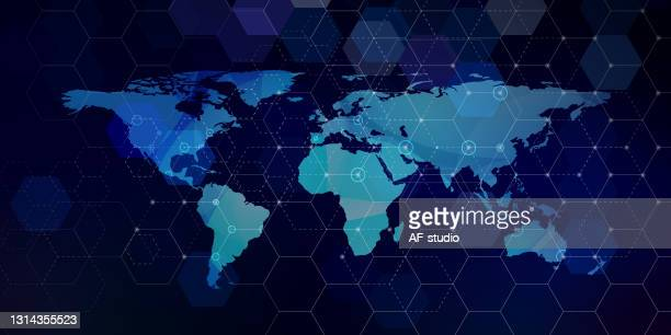 vector hexagonal network pattern with world map - af-studio stock illustrations
