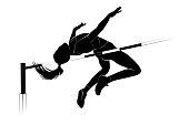 Vector high jump female athlete silhouette