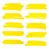 Vector highlighter brush lines. Marker pen highlight underline strokes. Yellow watercolor hand drawn highlight set.