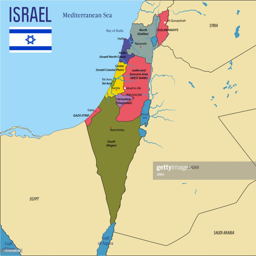 Vector highly detailed political map of Israel
