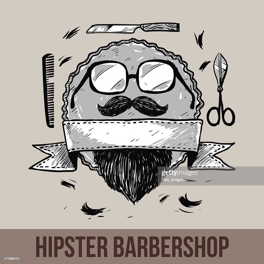 Vector hipster barbershop logo template