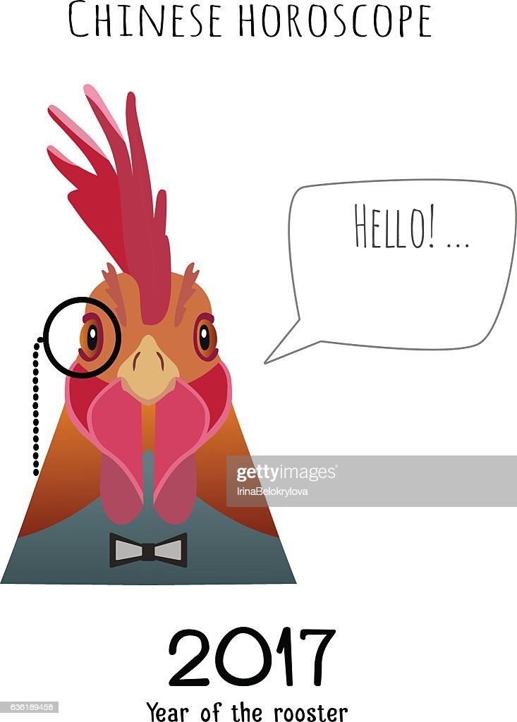 Vector hipster flat rooster wearing black bowtie ,monocle saying hello