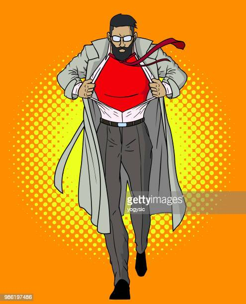 vector hipster man transforms into superhero - sportsperson stock illustrations