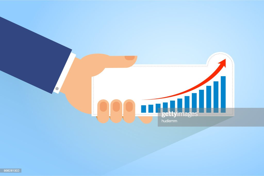 Vector holding bar graph pattern (Business Concept) : stock illustration