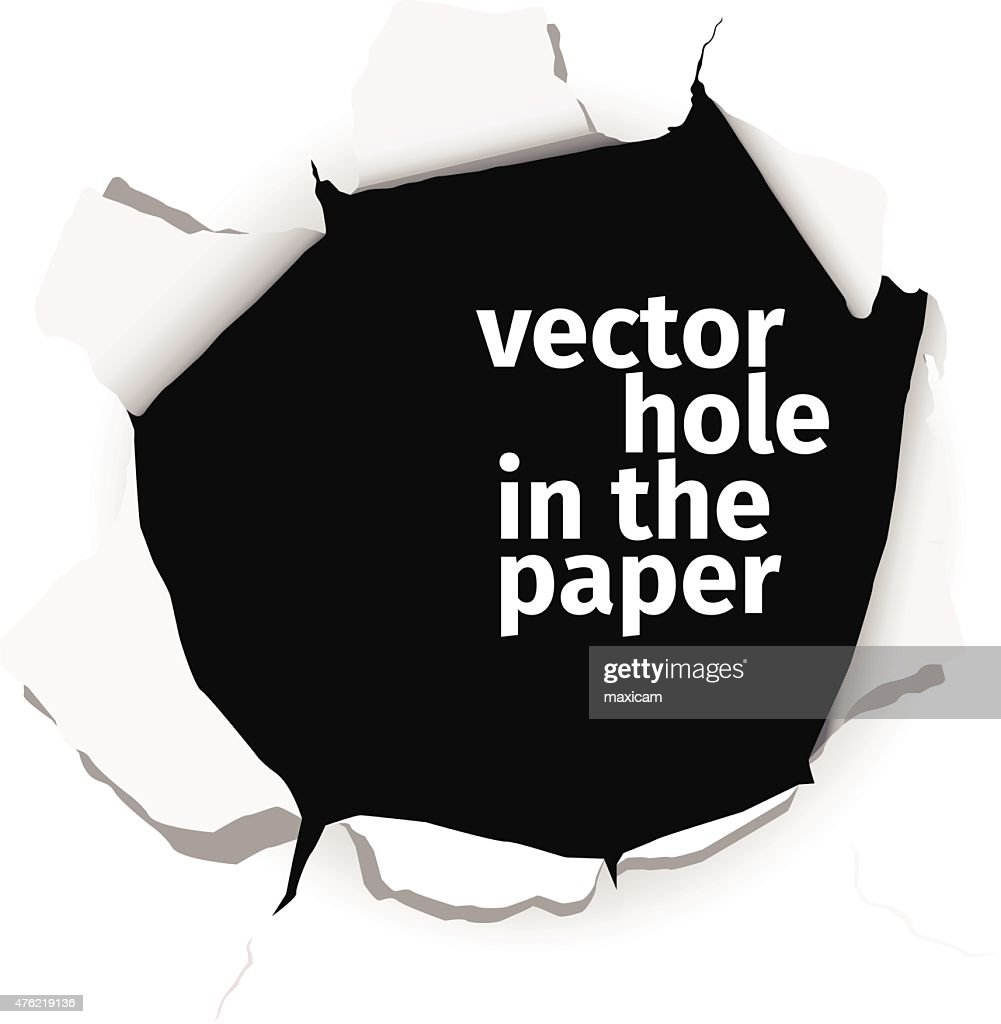 Vector hole in the paper isolated on white background