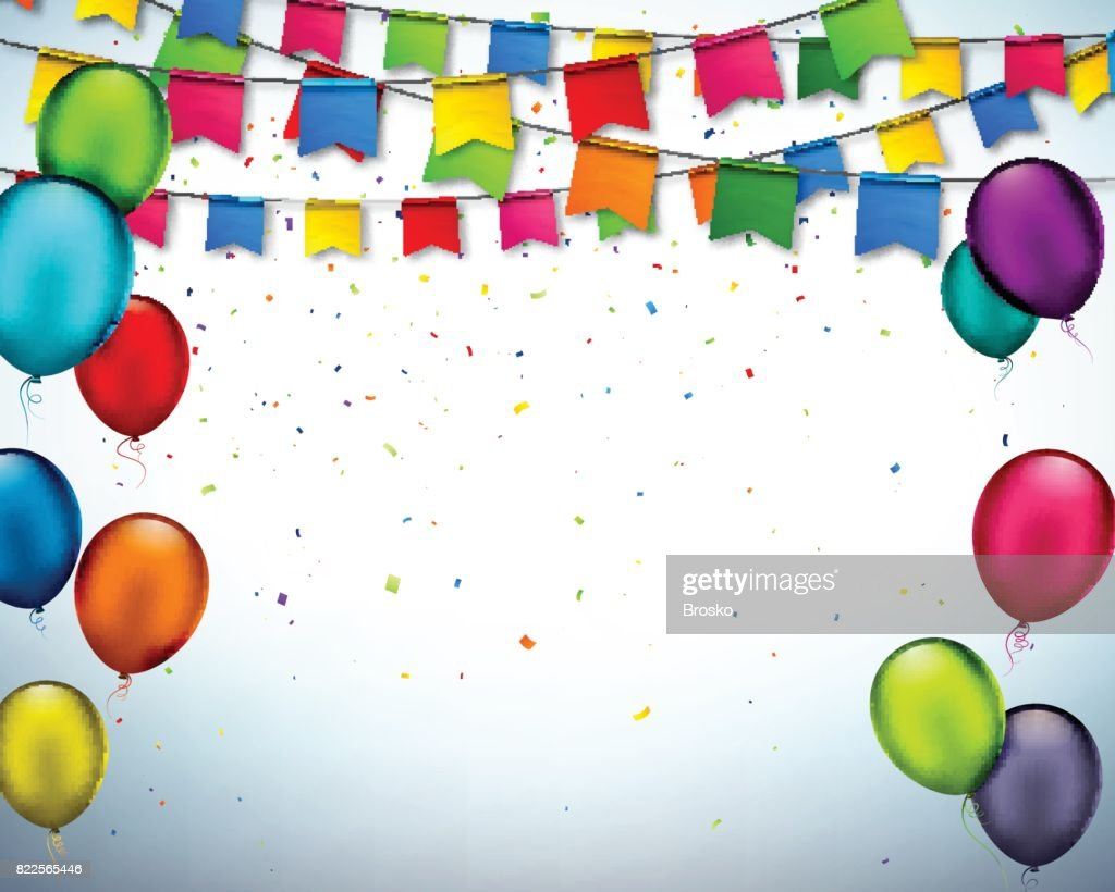 Vector holiday banner with confetti, garlands of flags and multi colored balloons.
